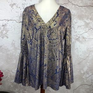 Michael Kors Boho Gold Blue Bell Sleeve Tunic NWT